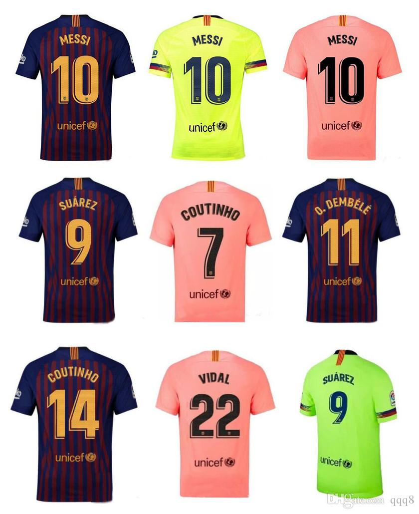 2019 18 19 Barcelona MESSI 10 Soccer Jerseys 18 19 NEW Barcelona A.INIESTA  8 Suárez 9 DEMBELE 11 COUTINHO 14 Coutinho 7 Football Shirts From Qqq8 62285b79f3b32