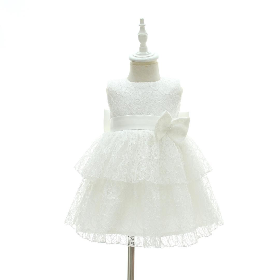 2018 Newborn Babe Baby Girl Dress Little Bridesmaid Clothes White ...