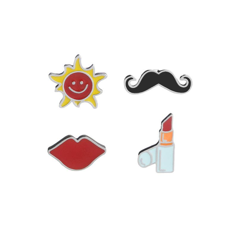 2019 Fashion Accessories for Women Men Creative Lipstick, Red Lips, Beard,Sun Pattern Brooch 4 Styles Brooch Pins In Stock
