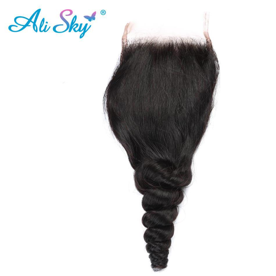 3/4 Bundles With Closure Body Wave Hair Bundles With Closure Brazilian Human Hair Weave 2 Bundles With Baby Hair Closure Ali Sky Human Non-remy Hair Human Hair Weaves