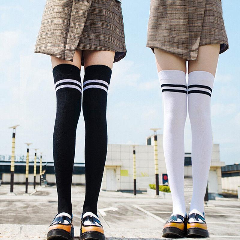 a8887f290f3 2019 HIRIGIN 2017 Winter Warm Socks For Girls Womens Over Knee Thigh High  Japanese Atyle Student Black Stripe Long Boot Socks From Yakima