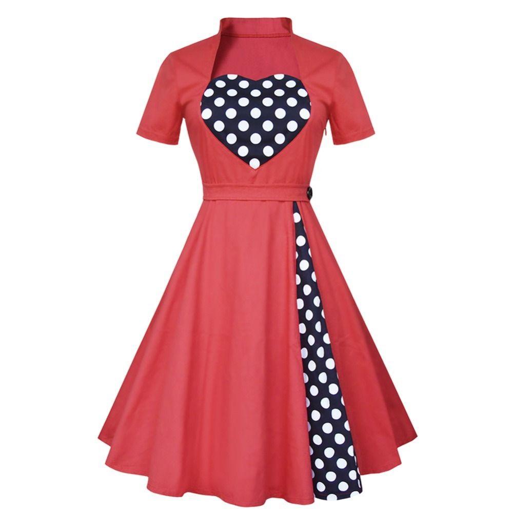 69979b7eb2a 2017 1950s Vintage Dress Audrey Hepburn Elegant Dress Short Sleeve Spring  Patchwork Red Retro Polka Dot Women Dresses Black Ladies Dress Ladies  Dressed From ...