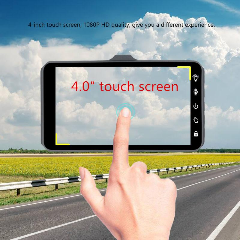 1080P full HD car DVR camera touch screen car camcorder 2Ch driving dashcam 4 inches 170° WDR night vision G-sensor parking monitor