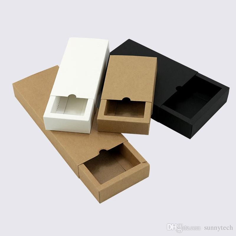 أبيض / أسود / ورق الكرافت شكل درج اليدوية الصابون التعبئة والتغليف ورقة صناديق مختلفة الأحجام هدية مربع التعبئة والتغليف LZ1316