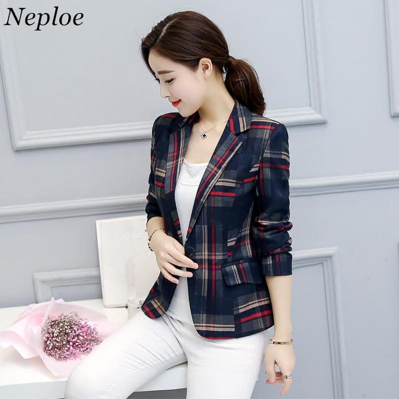 9308065e62a1 2019 Neploe Elegant Short Blazer 2017 Spring Single Button Long Sleeves  Plaid Jackets Ladies Office Wear Blazers Plus Size 4XL 33158 From Baldwing,  ...