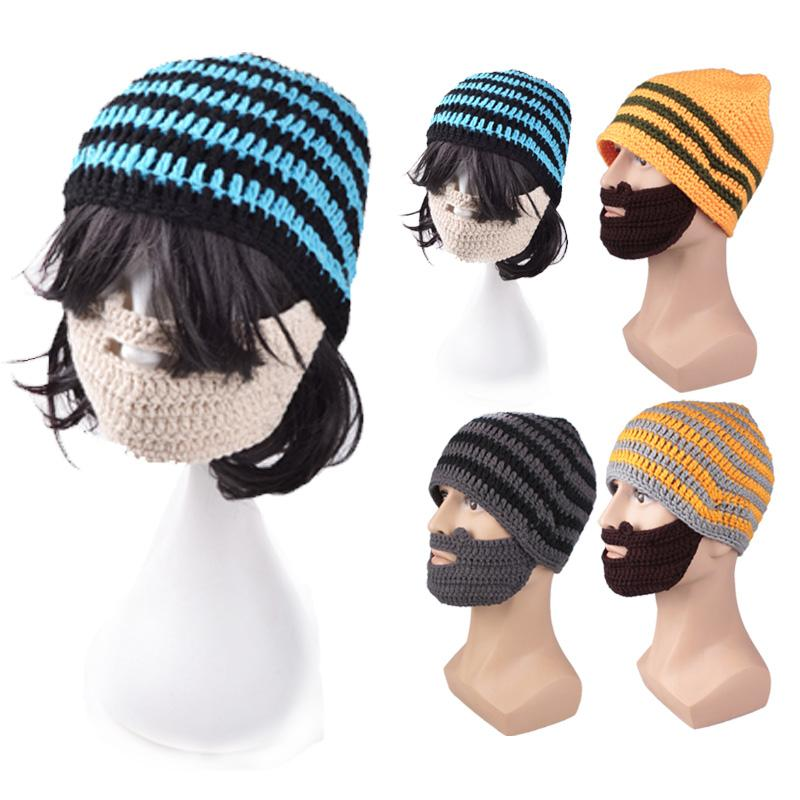 Compre Estilo De La Moda De Punto Sombrero De Barba De Invierno ...