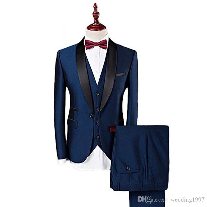 Azul marino Formal Boda Padrinos de boda Esmoquin 2018 Tres piezas Chal Solapa Trajes de hombre de negocios por encargo Chaqueta + Pantalones + Chaleco