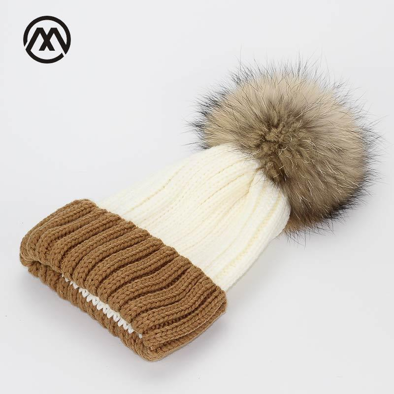 497beb316d6 Splnatural Real Fur Raccoon Fur Pompon Winter Women Warm Knit Hat Cap  Crochet Skullies Beanie With Big Ball Solid Thick Cap Beanie Hat Sun Hats  From Xiacao