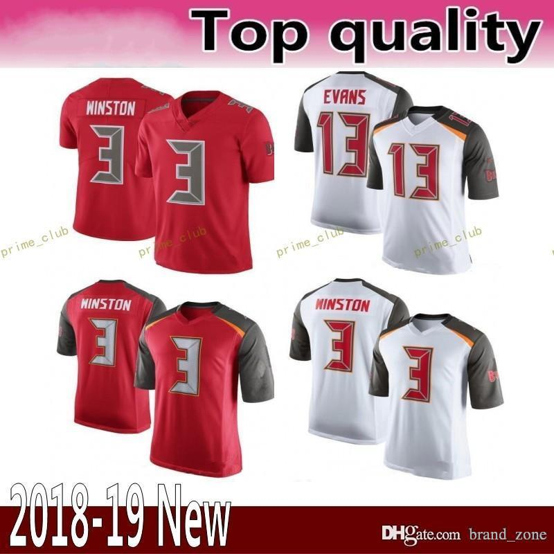 new style f3ca5 04893 13 Mike Evans 3 Jameis Winston Tampa Bay Buccaneers Jersey Männer Fußball  Trikots