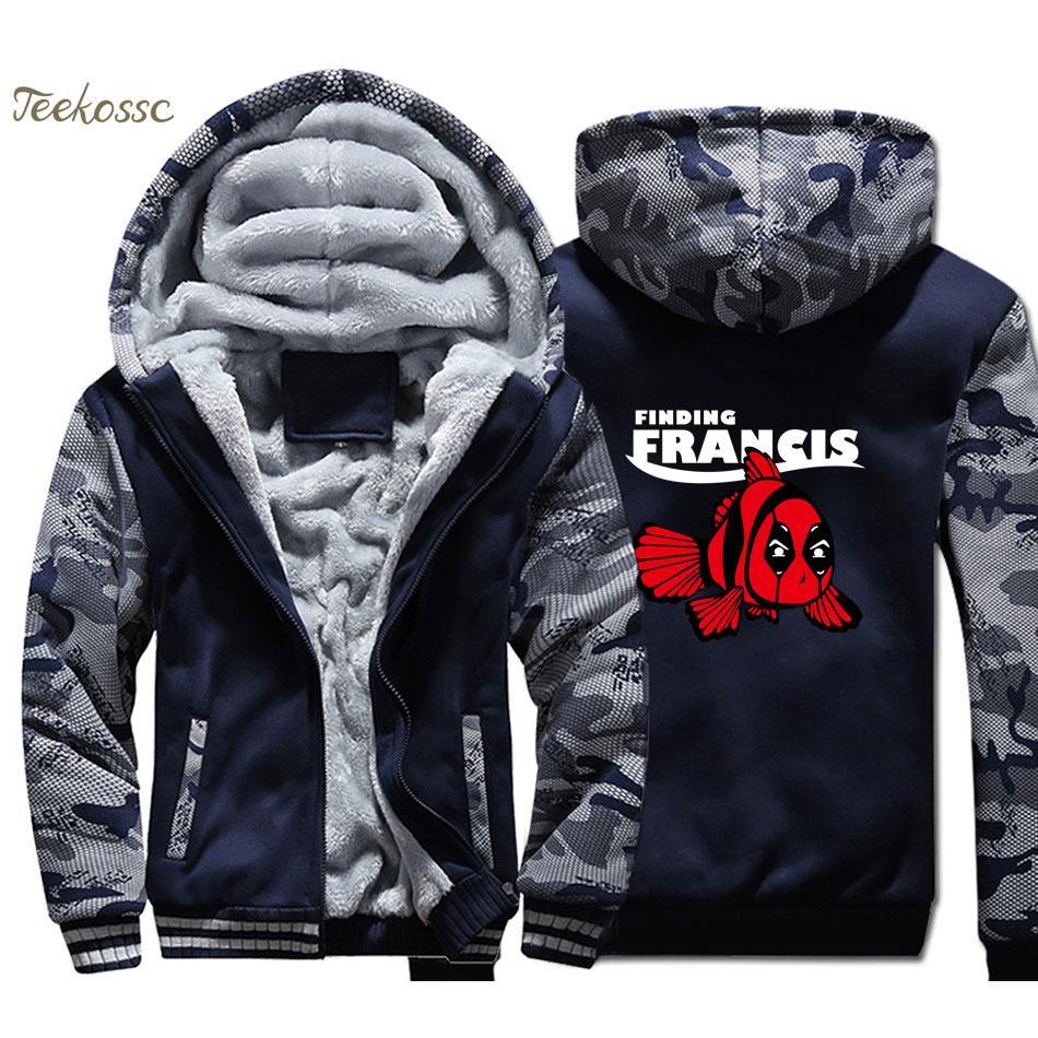 18375422c0a4 2019 Deadpool Finding Francis Hoodie Men Movie Hooded Sweatshirt Coat 2018  Winter Warm Fleece Thick Zipper Funny Jacket From Cantury