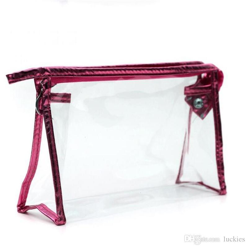 Mode cosmétique sac cosmétiques cas maquillage sacs dame lavage gargarisme sac transparent PVC voyage sacs étanches sacs de tri