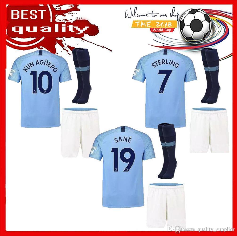 62f0ff2e7 Thai Quality 17 18 Man City Soccer Jersey Adult Kit+sock 2017 2018 DZEKO KUN  AGUERO KOMPANY Jerseys Soccer TOURE YAYA DE BRUYNE Shirts Adult Kit Man City  ...