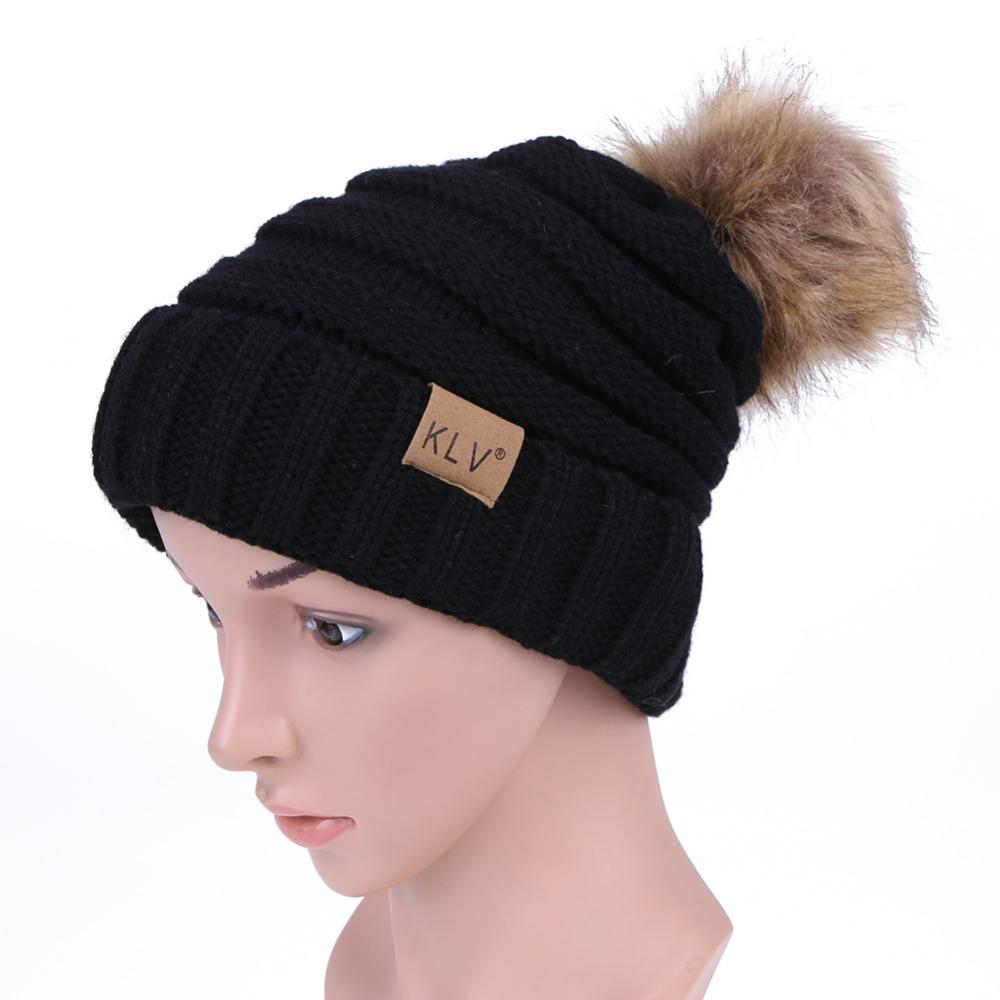 a3ad5db69c8 2019 Fur Ball Cap Winter Hat For Men Women Hat Knitted Warm Beanies  Skullies Thick Female Cap Pom Poms Caps Unisex Beanie Hats Snow From  Hcaihong