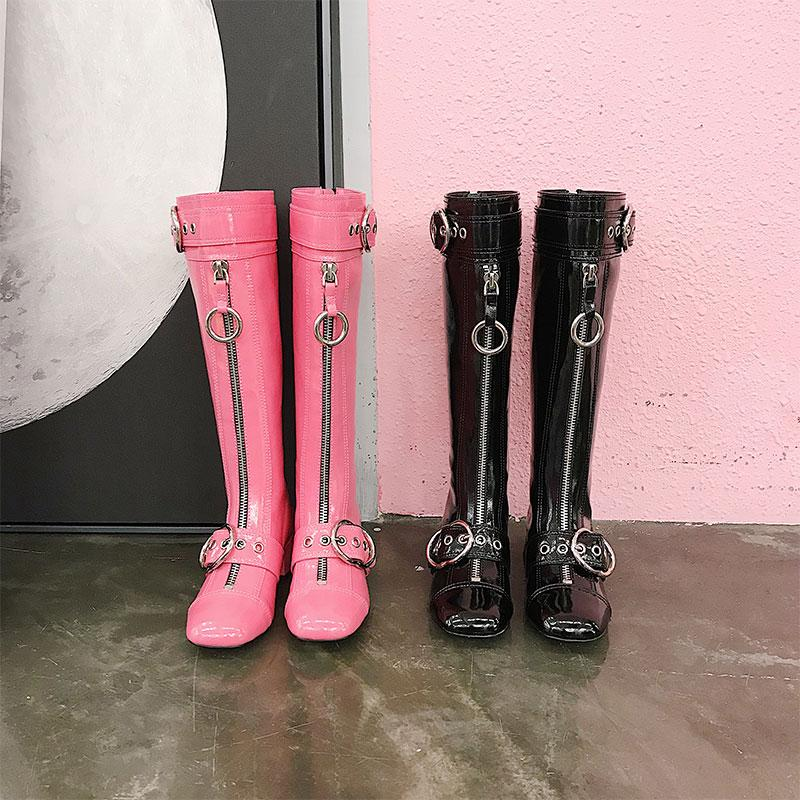 0d13fe0d8a3 Chic Womens Patent Leather Knee High Boots Chunky Heel Shoes Knight ...