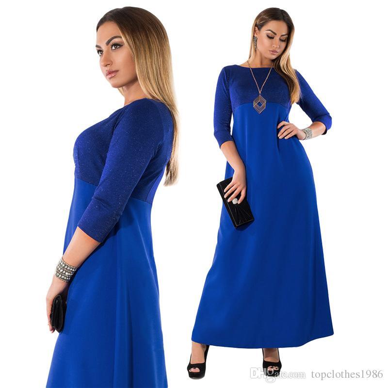 2018New stil kadın Artı Boyutu Elbiseler L-6XL Moda Elbise O-Boyun 3/4Sleeve zarif Elbiseler Maxi Uzun elbise 3 renkler