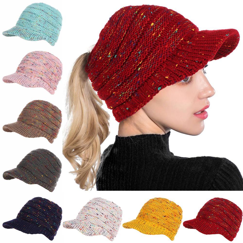 e5fcea7fdf2 Women soft stretch knitted warm ponytail hat winter bun hat jpg 1000x1000 Hip  hop beret