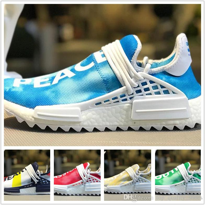 5b32c719b 2018 New Color Human Race Mens Shoes Peace Passion Happy Youth And Heart Hu  Pharrell Williams Black Blue Green Red Womens Running Sneakers Running Shoe  Best ...