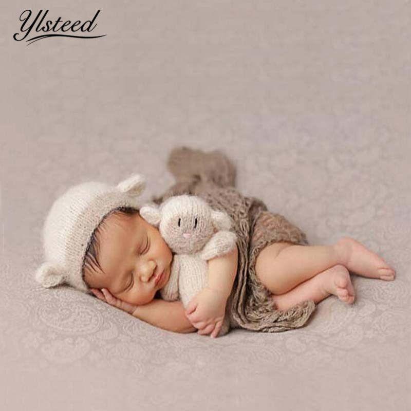 0a509adb432 2019 Newborn Props Cute Lamb Hat Doll Set Infant Shooting Crochet Mohair Baby  Hat Newborn Studio Accessories Baby Fotografie Props From Babyeden