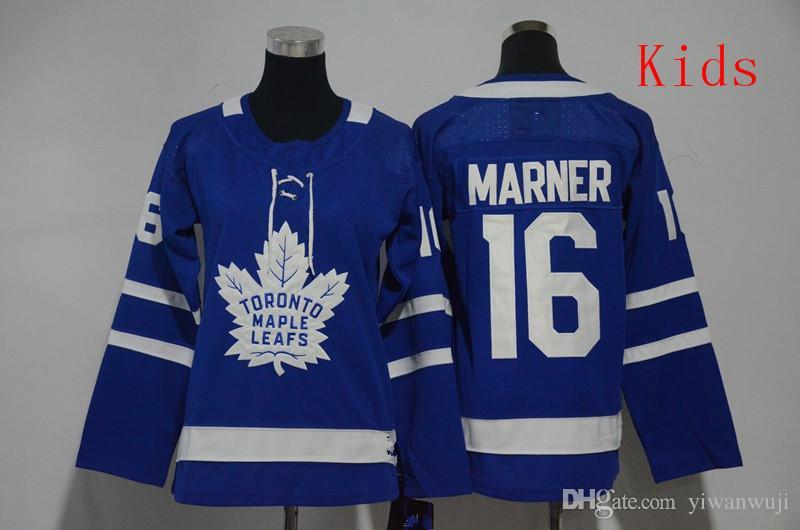 Frauen Kinder 2018-2019 Genähte AdladsToronto Maple Leafs # 16 MARNER # 34 MATTHEWS / Blank Blue Hockey Jerseys Ice