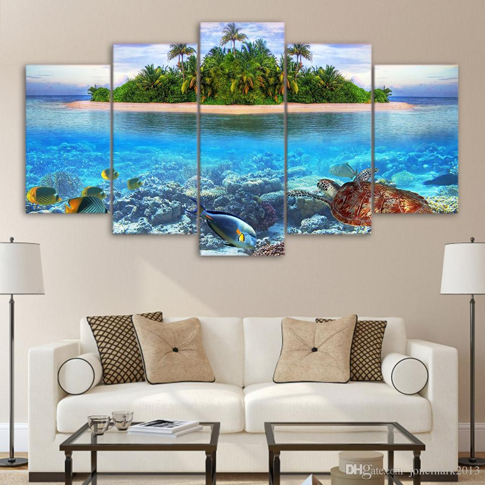 Canvas Art HD Print Home Decor sea fish tree Paintings For Living Room Wall Poster Picture UP-2323B
