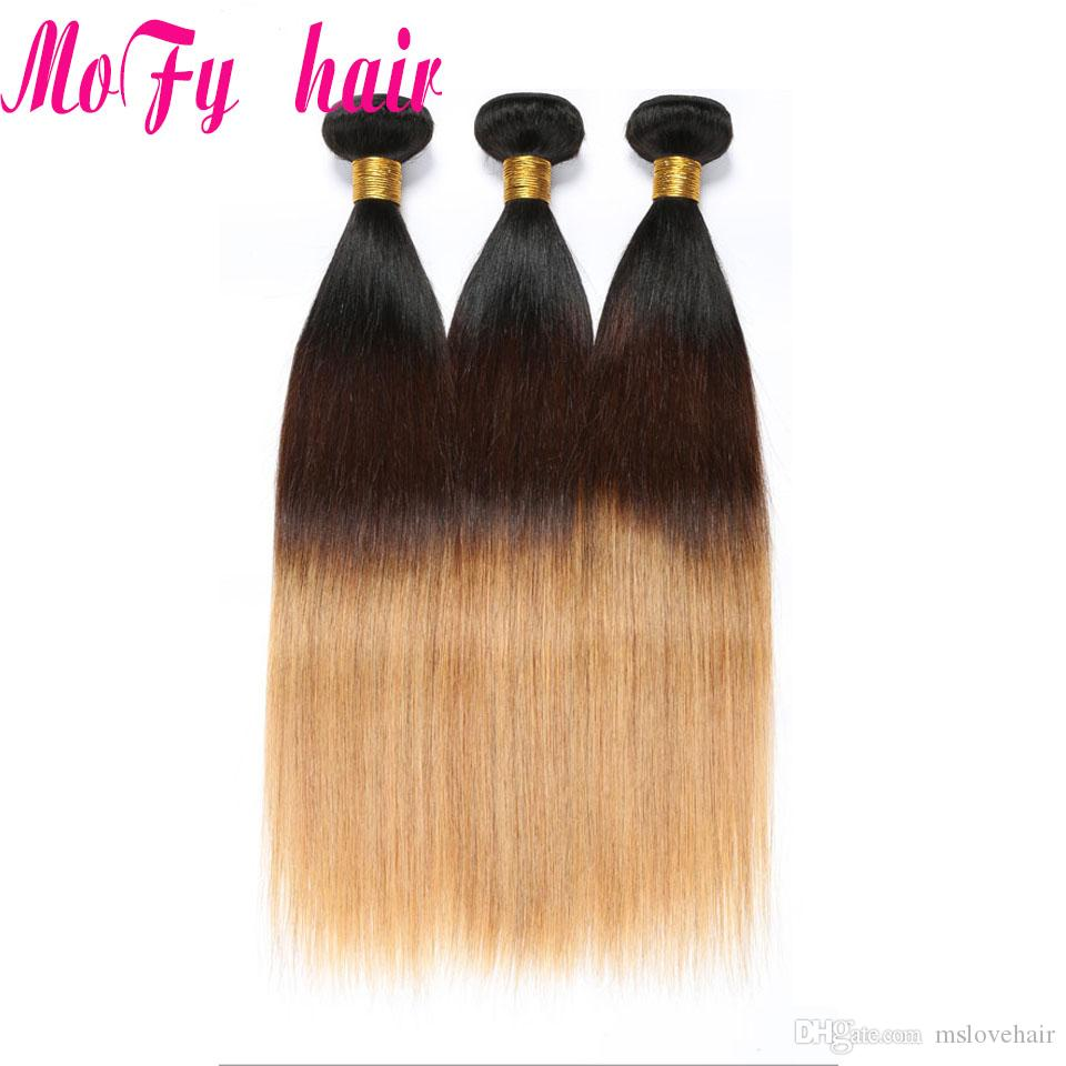 Ombre Brazilian Straight Hair Bundles Three Tone Blonde Ombre Human Hair Weave Bundles Non-Remy 1b/4/27 Extensions