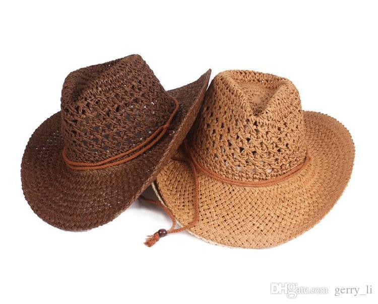 Compre Homens Cowboy Chapéu Ocidental Unisex Crochet Chapeau Palha Adulto  Panamá Cap Ao Ar Livre Praia Sol Chapéus E Bonés Para Homens Chapéu De  Verão ... 9601b2e5e55