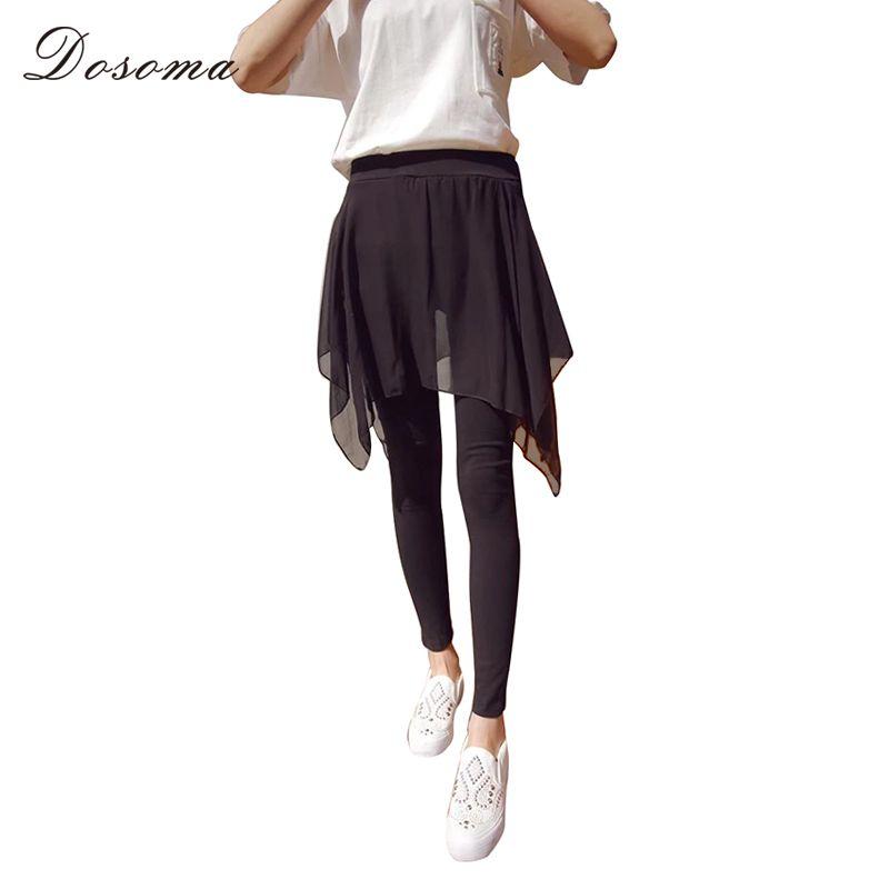 f50953694d89 2019 DOSOMA 2018 Summer Sexy Elastic Leggings Women Chiffon Thin Skirt Pants  Leggings Ankle Length Trousers Women S Clothing From Derricky