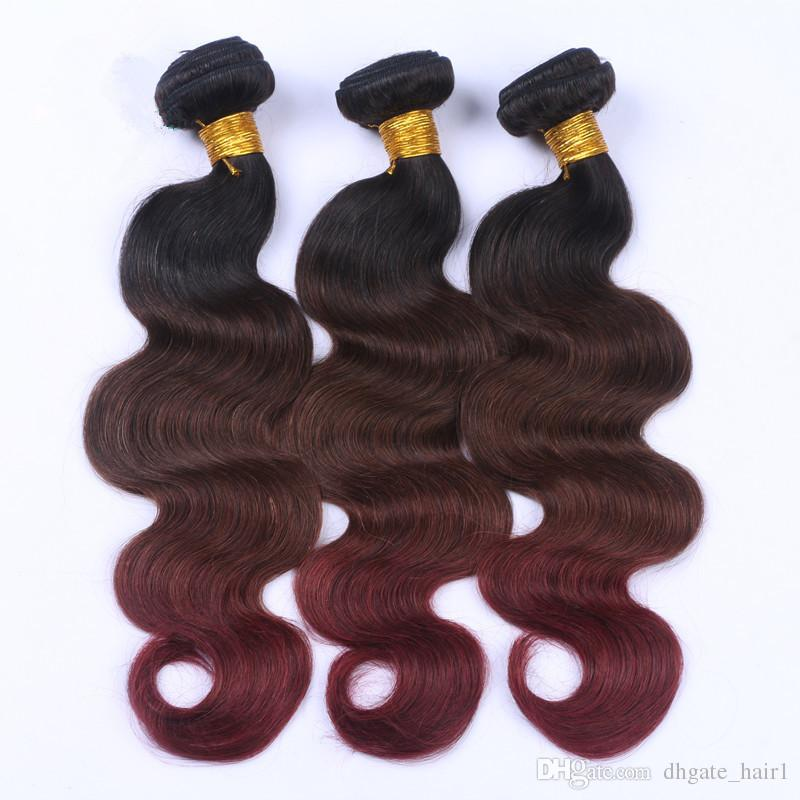 Body Wave #1B/4/99J Three Tone Ombre Peruvian Human Hair Bundles with 13x4 Full Lace Frontal Closure Nurgundy Ombre Virgin Hair Weaves