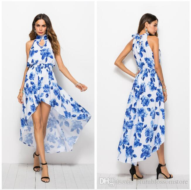 0167494649dce Women Summer Dresses Bohemian Beach Floral Printed Maxi Dresses Chic Boho  Sexy Irregular Halter Sleeveless Party Holiday Casual Long Dresses Womens  Floral ...