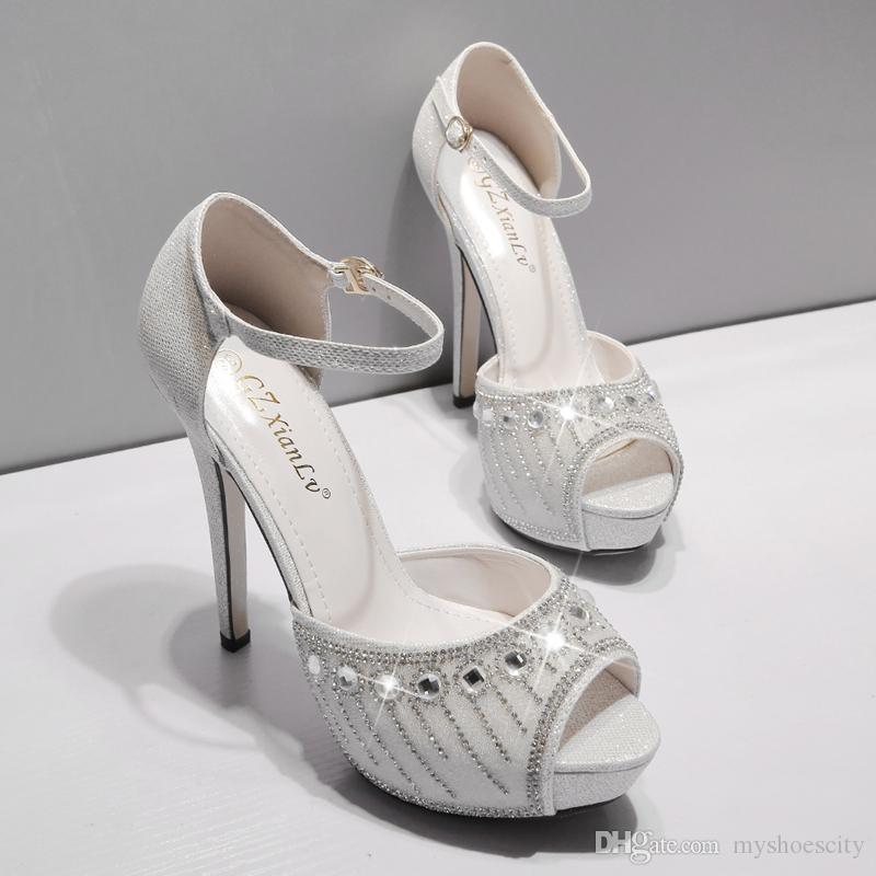 Luxury Wedding Shoes Silver Rhinestone Crystal Studded Platform Ankle Strap Heels Womens Prom Shoes Size 34 To 39 2018
