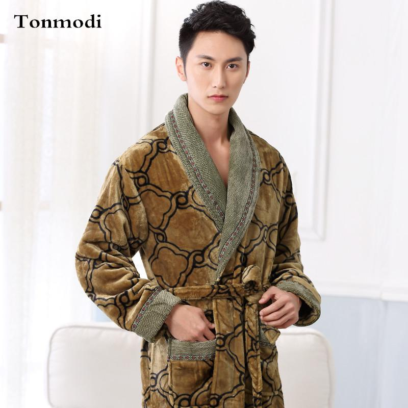 e5d8b58a89 Men Sleep Nightshirt For Robe Winter Flannel Sleepwear Luxurious ...