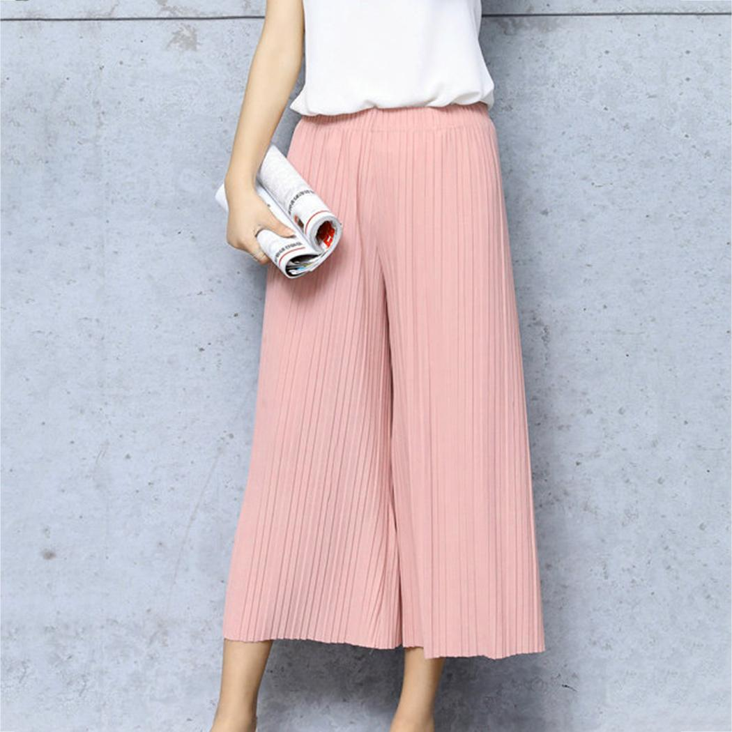 d8a85aa5af 2019 2018 Summer Chiffon Wide Leg Pants Women Fashion Loose Pleated Wide  Leg Trousers Ladies Stretch Waist Boho Pants Korean Pantalon From Roberr,  ...