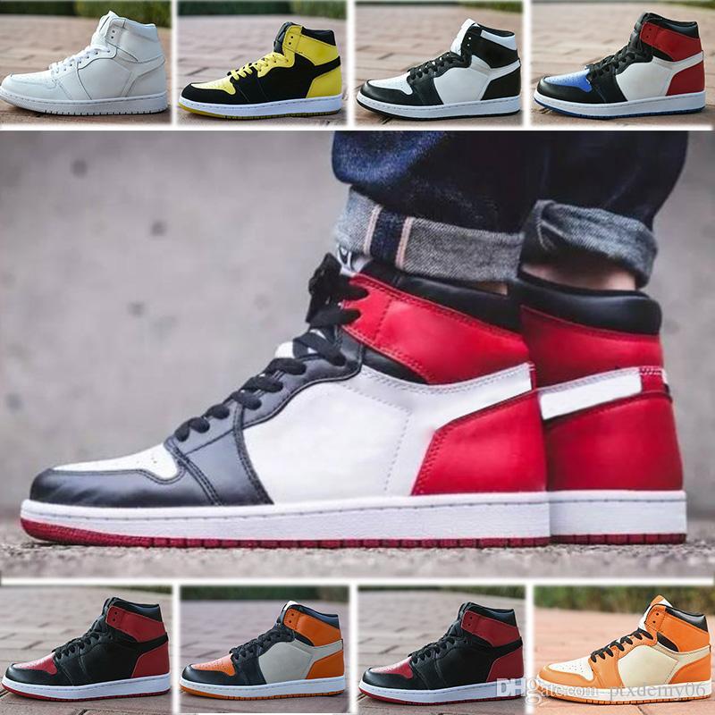 finest selection 8fbdb ef990 Acheter Nike Air Jordans Retro 1 Tennis Shoes Top Chaussures De Basketball  Hommes 1 OG Sneakers AAA Qualité Mandarine Canard Noir Rouge Blanc Hommes  ...