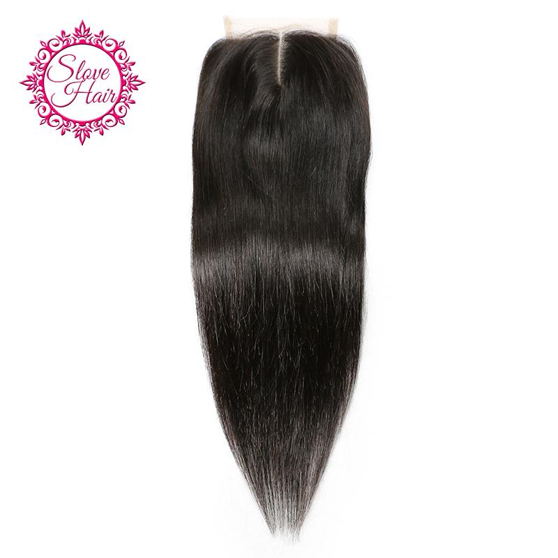 Slove Hair Brazilian Remy Straight Human Hair Lace Closure Middle Part Natural Color Bleached Knots Pre Plucked With Baby