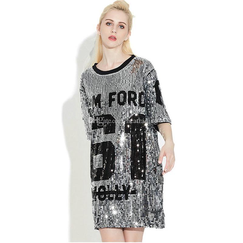 Frauen Club Kleider 2018 Pailletten T-Shirt Kleid plus Größe lose T-Shirts Glitter Tops Sommerkleid Pailletten Tops Kostenloser Versand