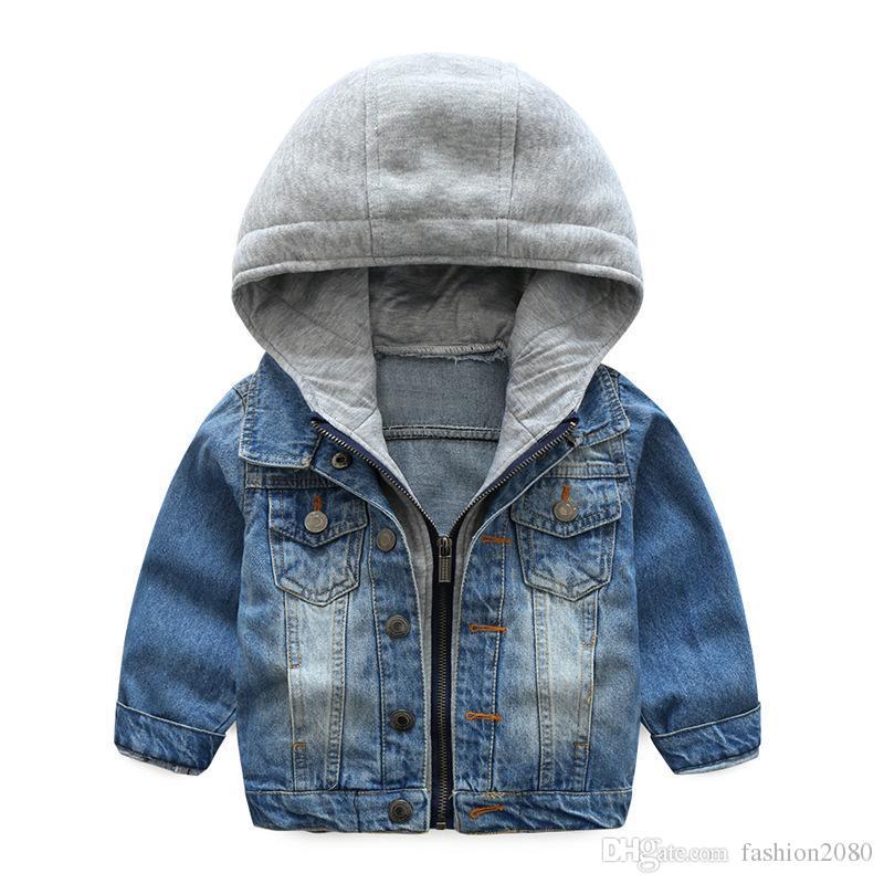 e8e5d886e Baby Boys Coat 2018 New Spring Autumn Wash Soft Denim Coat Hooded ...
