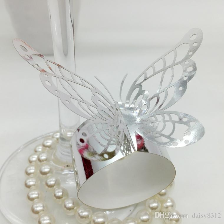 F3 Laser Cut Hollow Butterfly Paper Card Napkin Ring Serviette Buckle Holder Hotel Wedding Party Favour Decoration