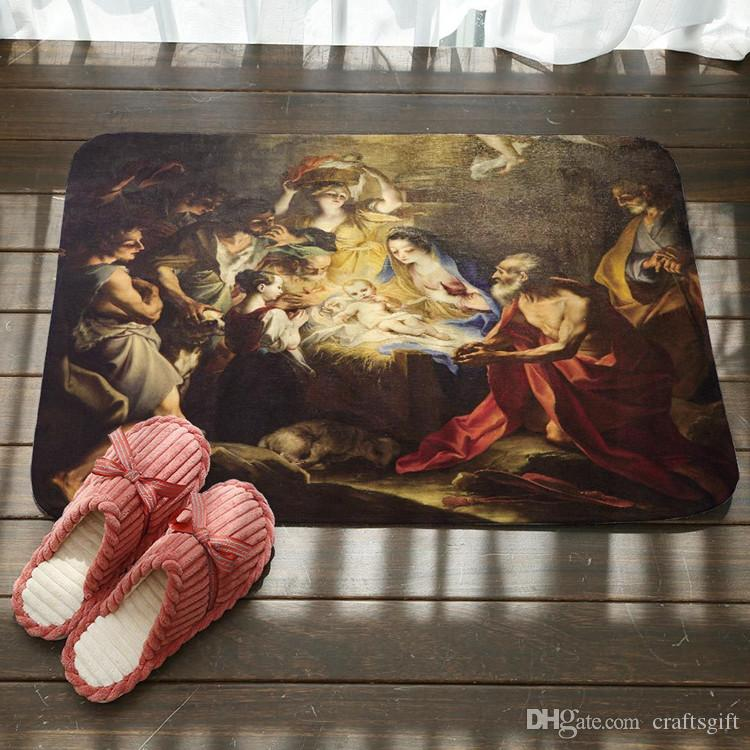 Jesus Christ Painting Pattern Bath Mat Kitchen Bathroom Floor Door Mat Super Absorbent Non-slip Rugs Soft Flannel Bath Mats
