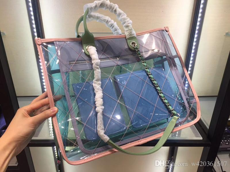 Transparent Bags 2018 New Fashion Handbags Candy Color Crystal Beach Bag Women Handbags PVC Travel Tote