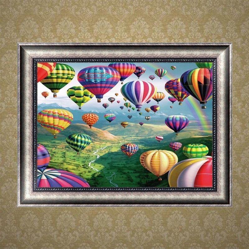 Satın Al Sıcak Hava Balon Görünüm 5d Elmas Yuvarlak Rhinestone Nakış