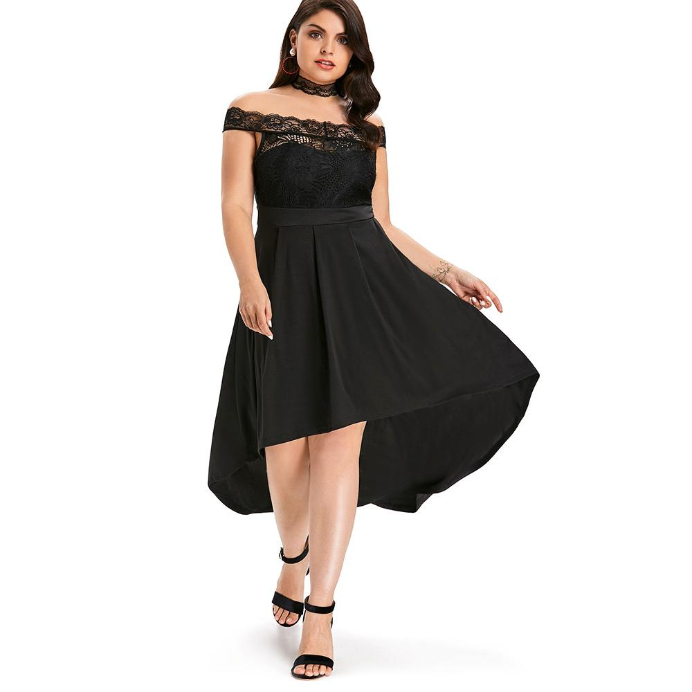 55ab6da6d807 2019 Wipalo Summer Women Plus Size 5XL Lace Dip Hem Swing Dress Solid Black  Elegant Short Sleeves Off Shoulder Party Dress Vestidos From Missher, ...