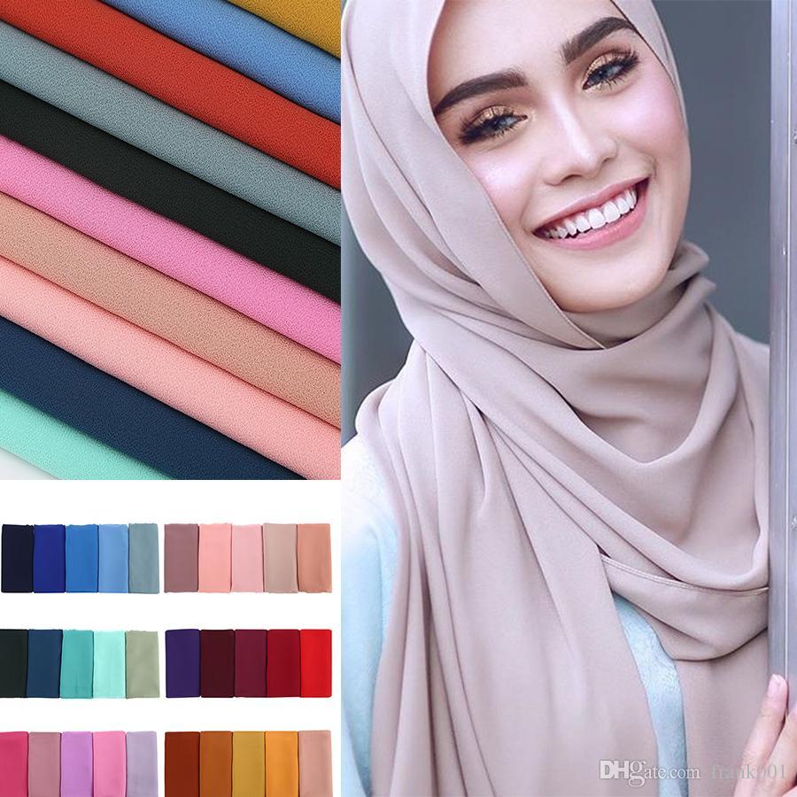 f24b1fcab74 Acheter Femmes Foulard En Mousseline De Soie Plaine Hijab Wrap Printe  Couleur Unie Châles Bandeau Hijab Populaire Foulards Musulmans   Écharpe 77  Couleur De ...