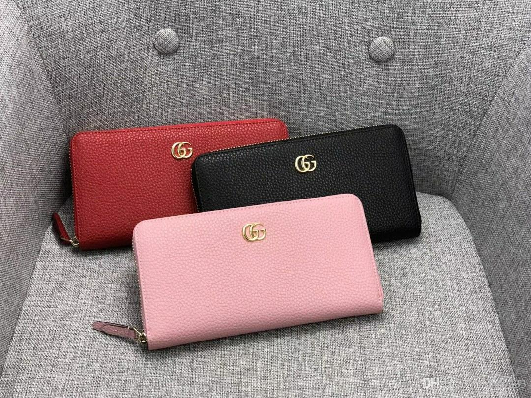 b8a69dbb78ad New Designer Handbags Vintage PU Womens Wallets Fine Bifold Brown Black PU  Leather Credit Card Cool Tri Fold Wallet For With Box 456117 Red Wallet  Leather ...
