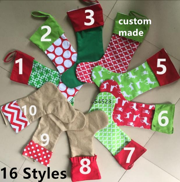 16 Designs Embroidered Personalized Christmas Stocking Canvas Cotton Xmas Tree Ornament Decoration For Children Candy Gifts Bag