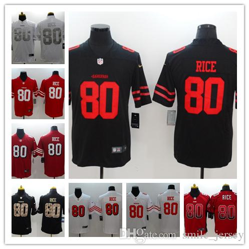 5536e03ba 2019 New Mens 80 Jerry Rice San Francisco Jersey 49ers Football Jersey 100%  Stitched Embroidery 49ers Jerry Rice Color Rush Football Shirt From ...