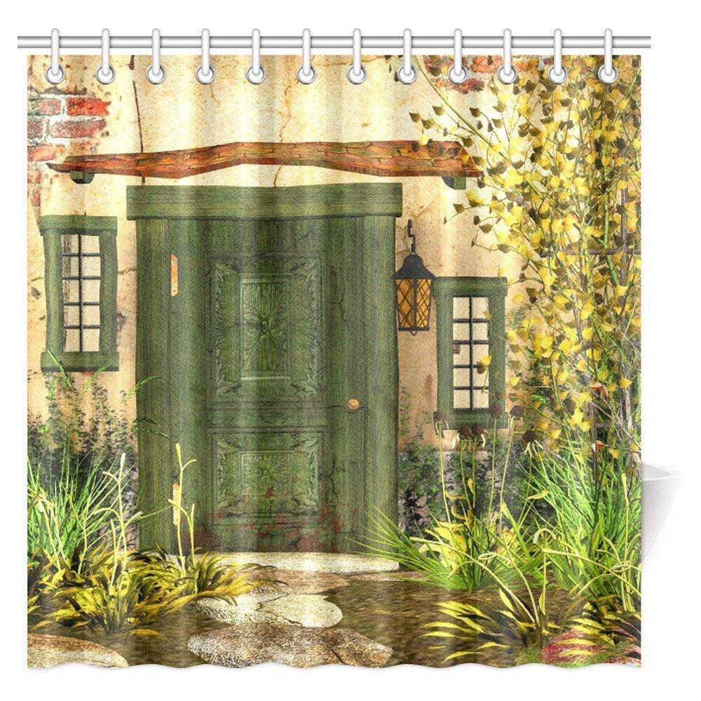 2019 Aplysia Rustic Shower Curtain Cottage Door Overgrown Bushes Grass Tree Garden Brick Fairytale Countryside Fabric Bath Curtains From Huayama