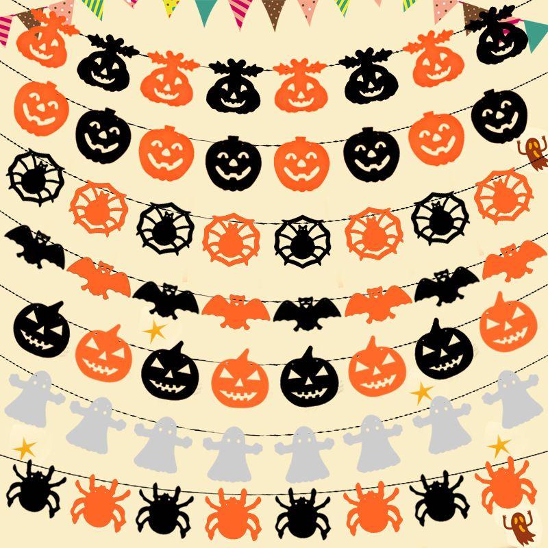 Não Tecido De Abóbora Bat Spider Laranja e Preto Bandeira Garland Decoração para o Dia Das Bruxas Partido Clube Festival Decoração Suprimentos