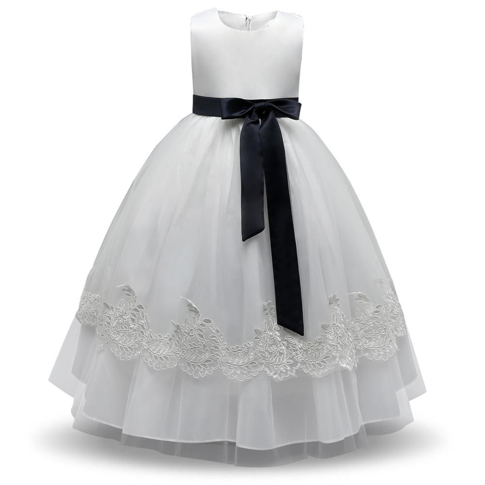 Formal Baby Girl Dress Evening Prom Gown New Designs Kids Clothes Lace Princess Girl Party Dress White Flower Girl Wedding Dress