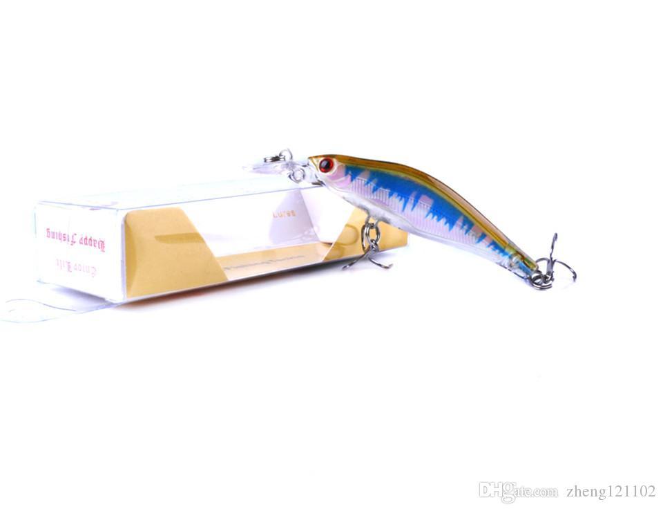 assorted colors quality professional fishing lure boxed minnow crankbait bait 8cm 6.2g swim carp bait /1lot