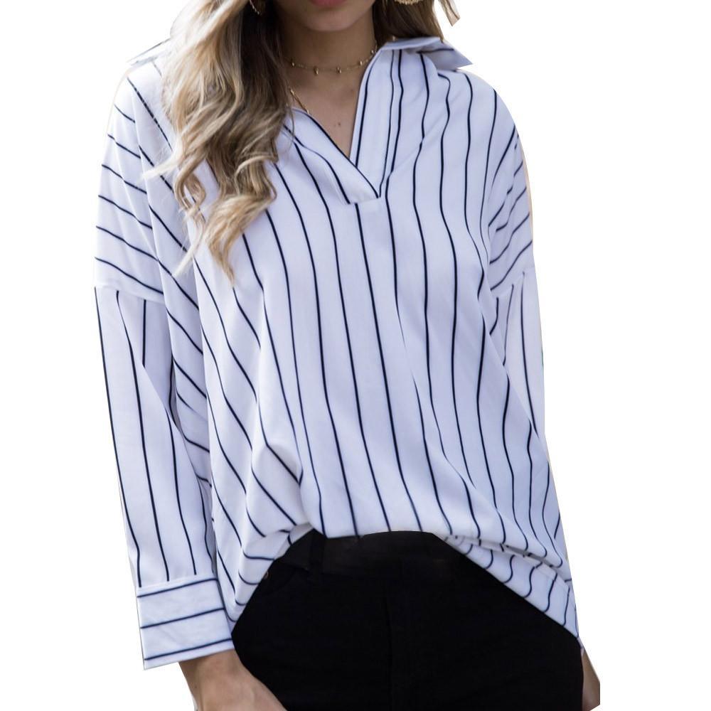 811da7f311aa Compre Listra Vertical Camisas Das Mulheres Tops Com Decote Em V Blusa  Casual Outono Lapela Manga Comprida Top Trabalho Blusa # V De Mobile10, ...